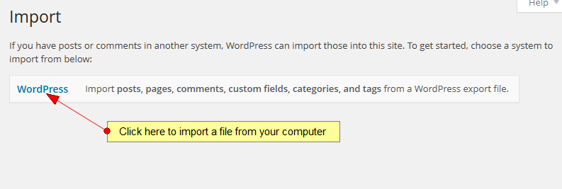 import wordpress posts, comments