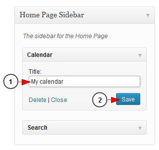 activate wordpress widget calendar