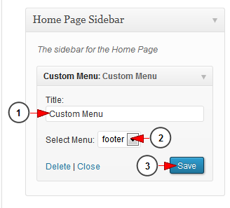 custom menu wordpress widget