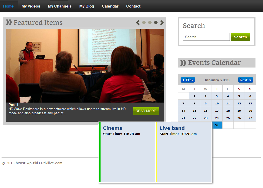 activate wordpress widget events calendar