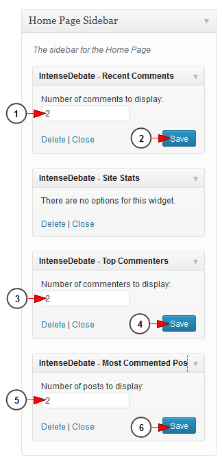 activate wordpress widget intensedebate