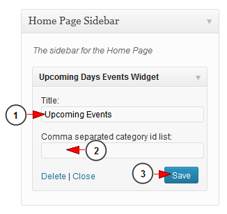 wordpress widget upcoming events